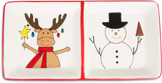 "Snowman with Moose by Holiday Hoopla - 12"" Sectioned Dish"