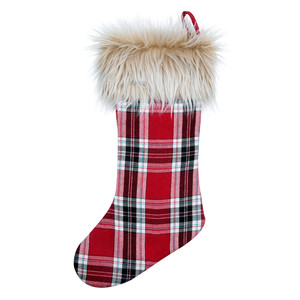 "Plaid & Faux Fur by WarmHearts - 20"" Stocking"