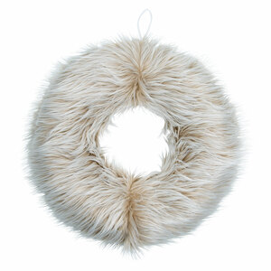 "Cream Faux Fur by WarmHearts - 19"" Wreath"