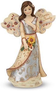 "Cherish Family by Elements - 5.5"" Angel Holding Flowers"