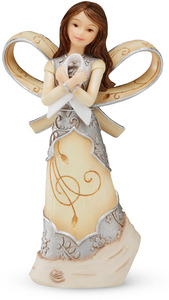 "Pearl Ribbon by Elements - 5"" Angel. Pearl Ribbon symbolizes Lung Cancer Awareness."