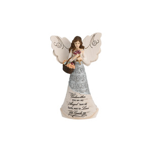 "Godmother by Elements - 6"" Angel w/Basket of Flowers"
