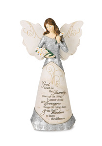 "Serenity by Elements - 9"" Angel Holding Calla Lilies"