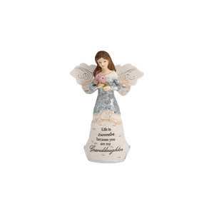 "Granddaughter by Elements - 5.5"" Angel Holding Flowers"