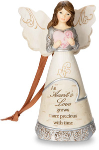 "Aunt by Elements - 4.5"" Angel Holding Heart Ornament"