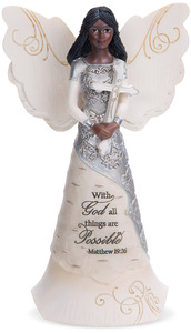 "With God by Elements - 6.5"" EBN Angel with Cross"