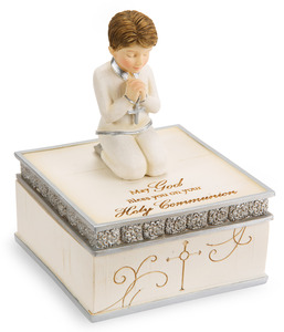 "Communion Boy by Elements - 4"" Keepsake Box"
