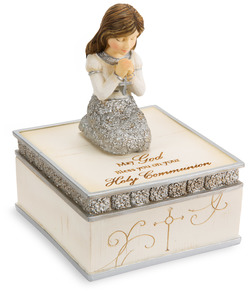 "Communion Girl by Elements - 4"" Keepsake Box"