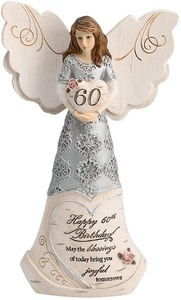 "60th Birthday by Elements - 6"" Angel Holding 60th Heart"