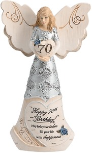 "70th Birthday by Elements - 6"" Angel Holding 70th Heart"