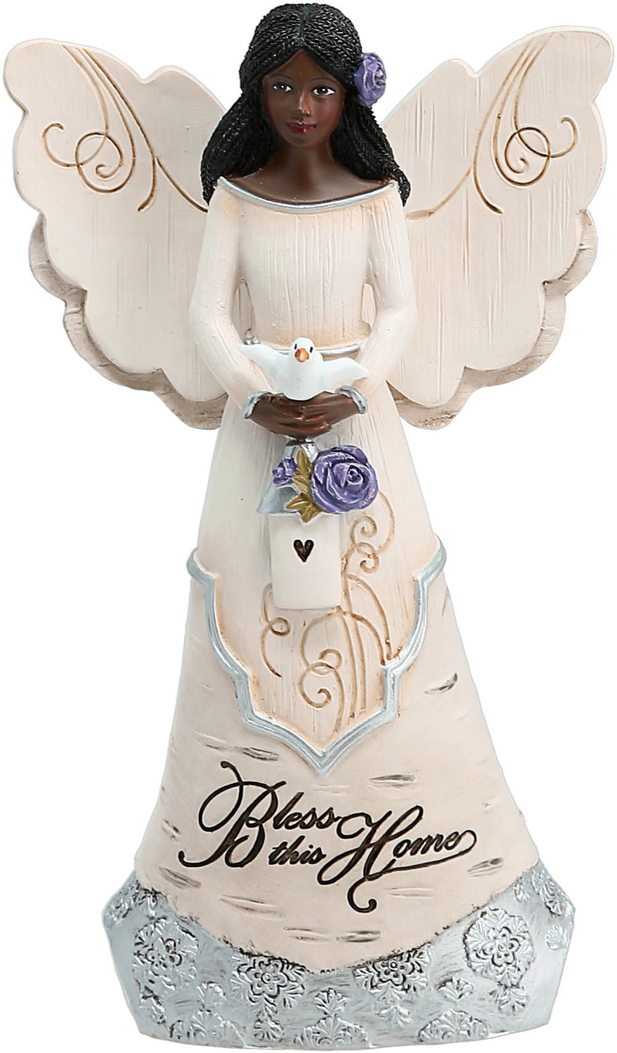 "Bless this Home by Elements - Bless this Home - 6"" EBN Angel Holding Bird House"