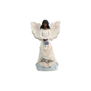 "Bless this Home by Elements - 6"" EBN Angel Holding Bird House"