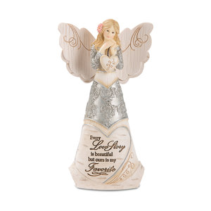 "Love Story by Elements - 6"" Angel Holding Heart"