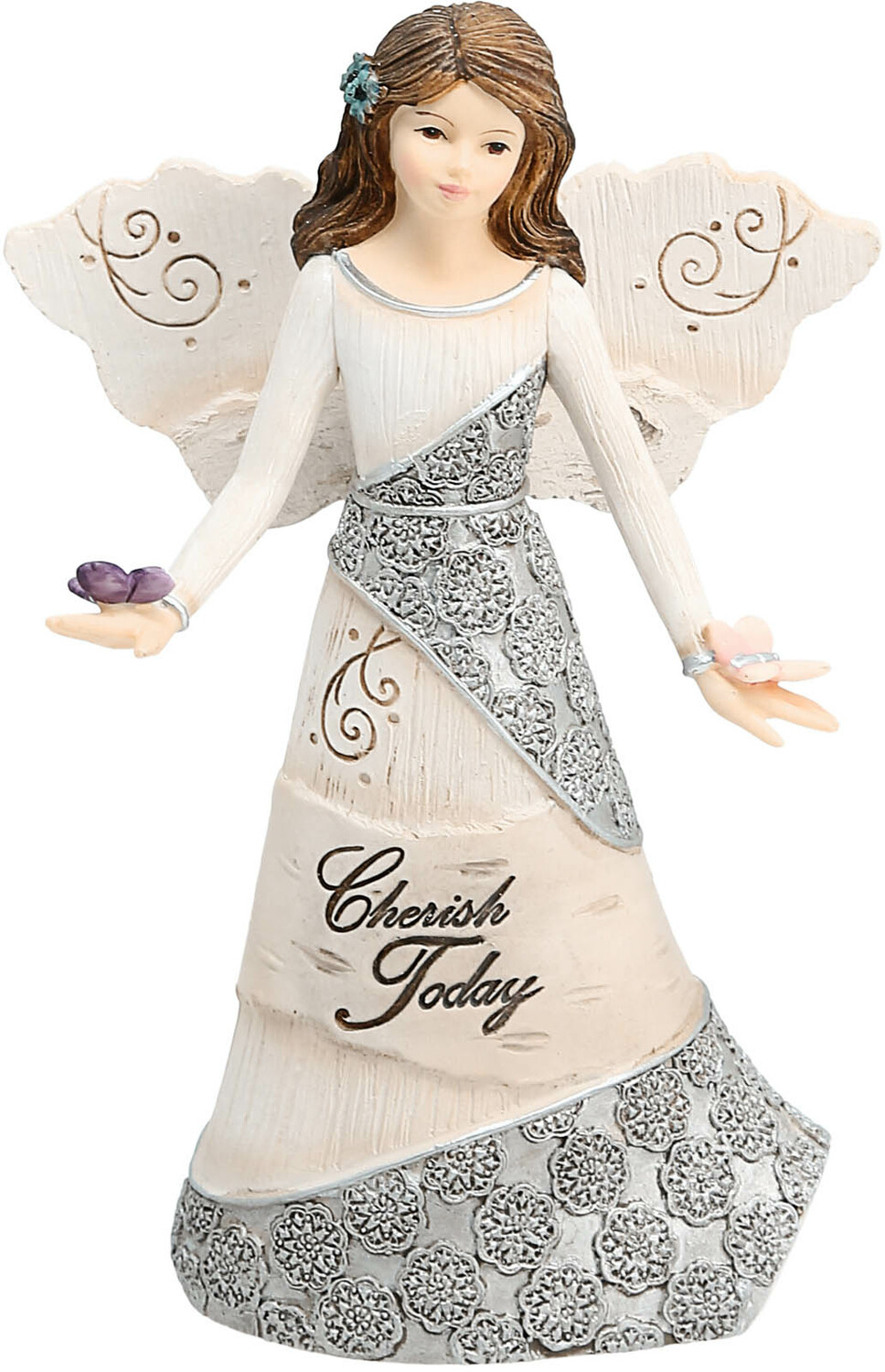 "Cherish Today by Elements - Cherish Today - 5.5"" Angel Holding Butterflies"