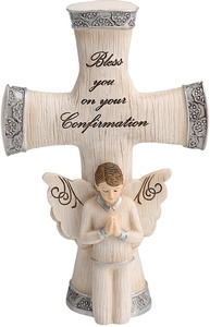 "Confirmation Boy by Elements - 5.5"" Cross with Angel"