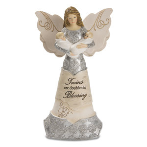 "Twins by Elements - 7.5"" Angel Holding Twins"