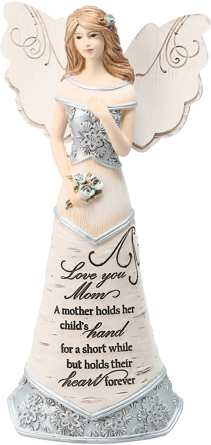 "Love You Mom by Elements - Love You Mom - 7.5"" Angel Holding Flowers"