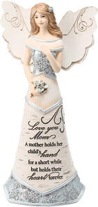 "Love You Mom by Elements - 7.5"" Angel Holding Flowers"