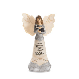 "Cat Mom by Elements - 6"" Angel Holding Cat"