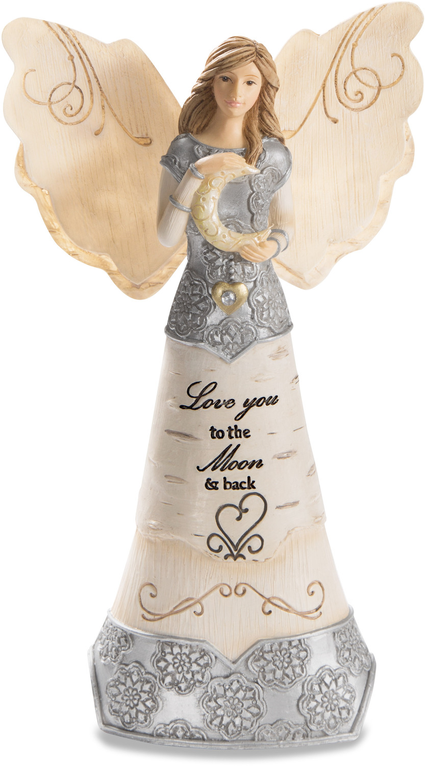 "Love You by Elements - Love You - 6"" Angel Holding Moon"