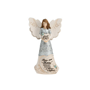 "65th Birthday by Elements - 6"" Angel Holding a Heart"