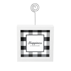 "Happiness by Farmhouse Family - 5"" Framed Glass Plaque with Photo Clip"