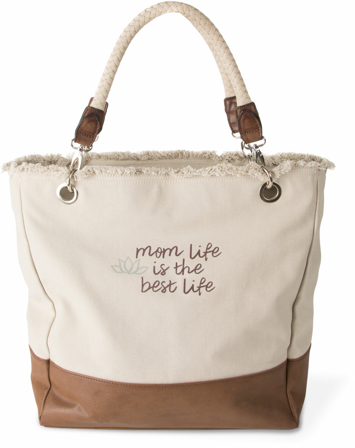 "Best Life by Mom Life - Best Life - 18"" x 15"" x 6.75"" Large Canvas Tote Bag"
