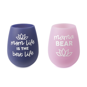 Mom Life by Mom Life - 13 oz Silicone Wine Glasses (Set of 2)