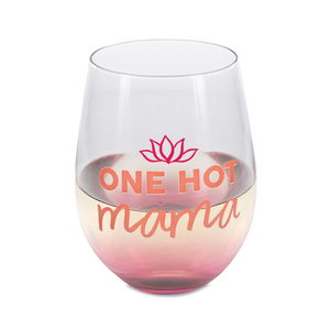 Hot Mama by Mom Life - 18 oz Stemless Wine Glass