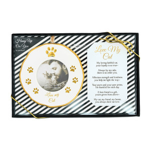 "Cat  by Hung Up on You - 4"" Photo Frame Ornament"