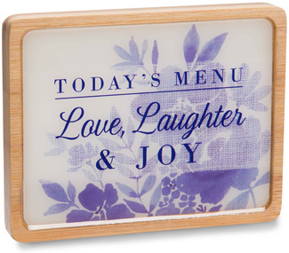 "Love, Laughter & Joy by Eat Share Love - 3"" x 4"" Magnet Plaque with Easel"