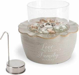 "Family by Love Lives Here - 8.25"" x 7"" Cermic Firepot with Glass Shade"