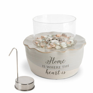 "Home by Love Lives Here - 8.25"" x 7"" Cermic Firepot with Glass Shade"