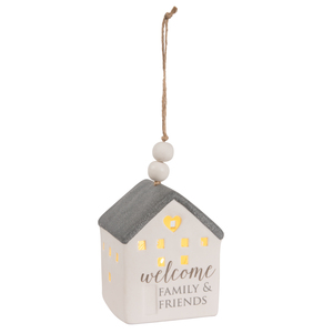 "Welcome by Love Lives Here - 4.25"" LED Lit Hanging Porcelain House"