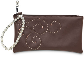 "Brown Stud by LAYLA - 7"" x 4"" Genuine Leather Purse/Wristlet"