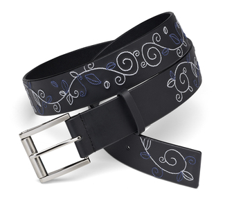 "Blue & White Stitched Belt by LAYLA - 43"" Black Leather"