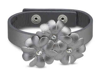 "Silver Shimmer Flower Bracel by LAYLA - 8.5"" Leather & Gem"