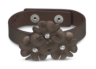 "Brnz Shimmer Flower Bracelet by LAYLA - 8.5"" Leather & Gem"