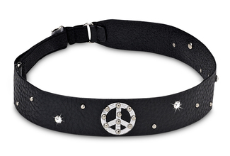 "Peace Elastic Headband by LAYLA - 1"" Black Leather Stud/Gem"