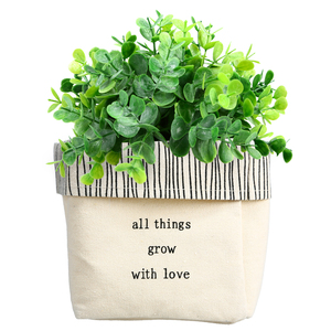 "Grow by Celebrating You - Canvas Planter Cover (Holds a 4"" Pot)"