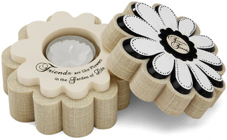 "Friends are like Flowers by Modeles - 4.5"" x 2"" Candle Holder"