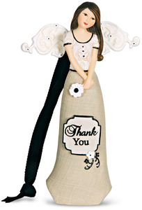 "Thank You by Modeles - 4.5"" Angel Ornament Holding Flower"