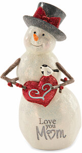 "Mom by Berry and Bright - 6"" Snowman with Heart"