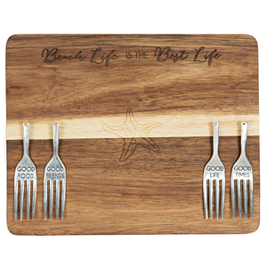 "Beach Life by Hostess with the Mostess - 9"" Acacia Cheese/Bread Board Set"