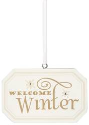 "Welcome Winter by Signs of Happiness - 3""x 2"" Hanging Plaque"