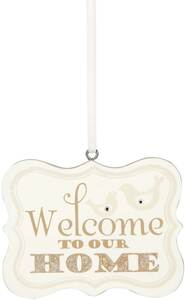 "Welcome to our Home by Signs of Happiness - 2.75""x2.25"" Hanging Plaque"