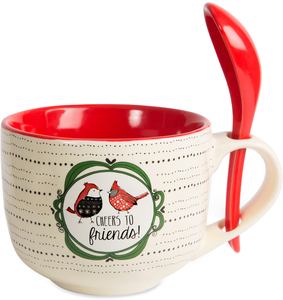 Cheers by Snow Pals - 16 oz Mug with Spoon