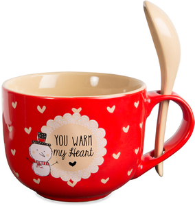 Warm my Heart by Snow Pals - 16 oz Mug with Spoon