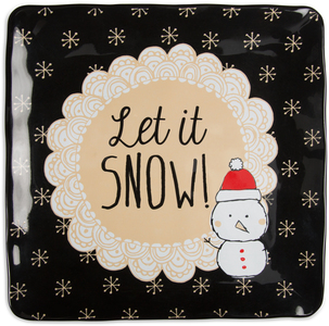 "Let it Snow! by Snow Pals - 9"" Square Plate"