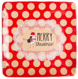 "Merry Christmas! by Snow Pals - 9"" Square Plate"